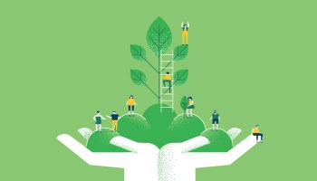 illustration Hands with green plant and people for nature help