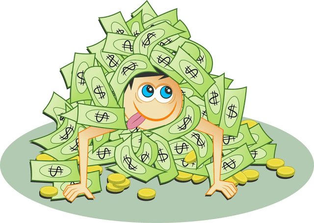 get rich quick? - kid in pile of money image
