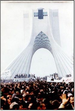 Asura demonstration in freedom square, Tehran, during 1979 Iranian revolution