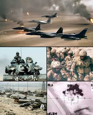 Gulf War photo collage. Via Wikimedia Commons