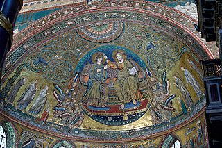 The coronation of the Virgin with angels, saints, Pope Nicolas IV and Cardinal Colonna. Apse mosaic in Basilica di Santa Maria Maggiore, by Jacopo Torriti (1295), with parts from the original mosaic (5th century). Author Jastrow