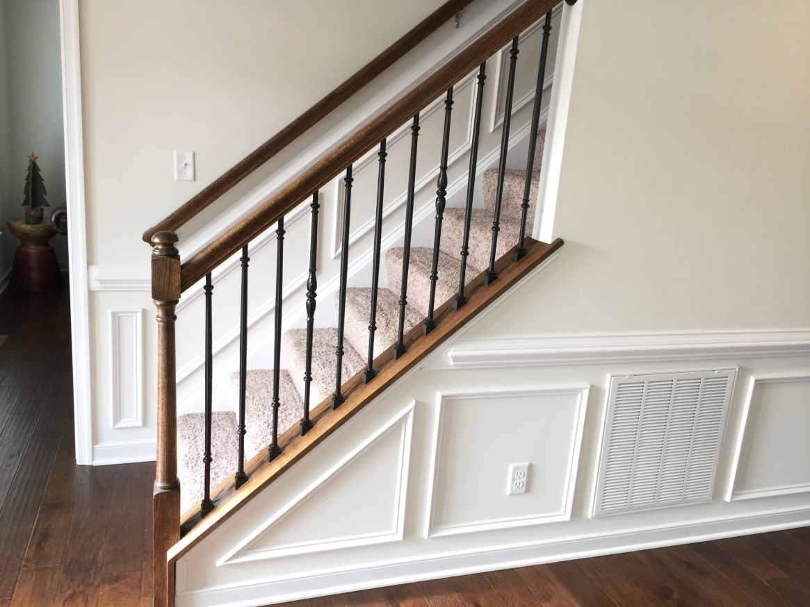 After wainscoting on stairs.