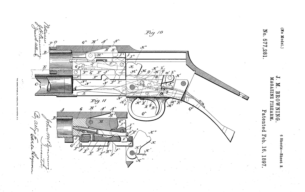 Unproduced Browning Shotgun Patent From