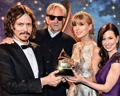 LOS ANGELES, CA - FEBRUARY 10: (L-R) Songwriters John Paul White, T-Bone Burnett, Taylor Swift and Joy Williams appear onstage during the 55th Annual GRAMMY Awards Pre-Telecast at Nokia Theatre L.A. Live on February 10, 2013 in Los Angeles, California. (Photo by Rick Diamond/WireImage)