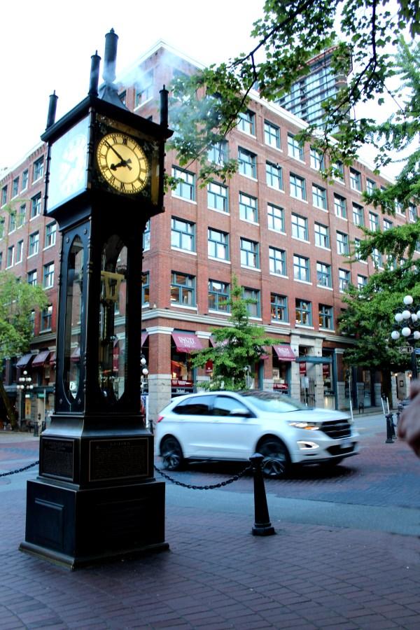 Vancouver, clock, city, street