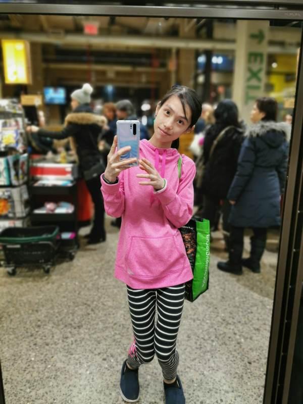 selfie happy bright pink hoodie sweater