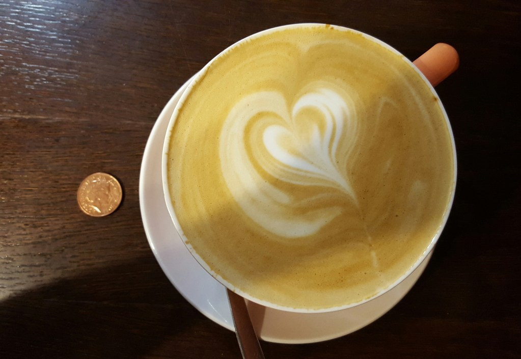 Latte: actual size. 2p for scale