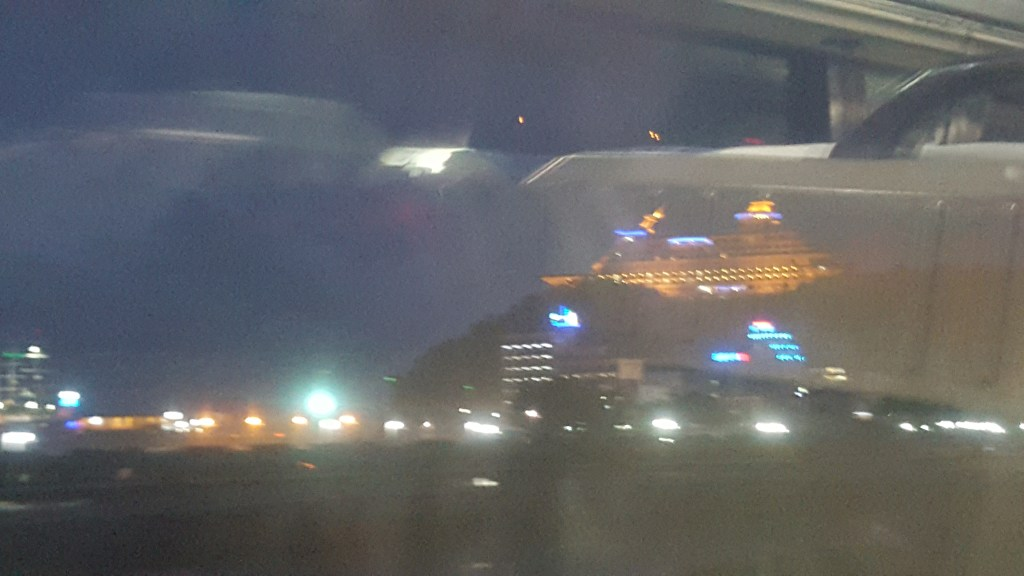 A terrible photo taken hastily through the train window but should give you an idea of a ship on a cliff