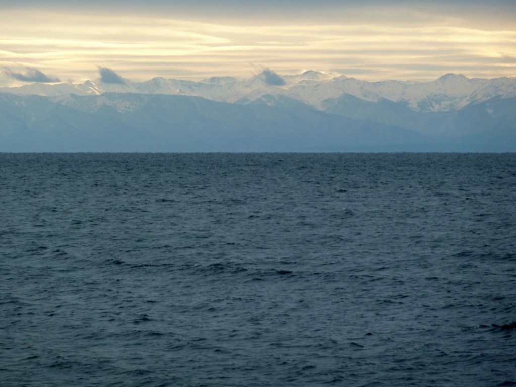 The mountains on Lake Baikal's eastern shore, visible after the blizzard cleared