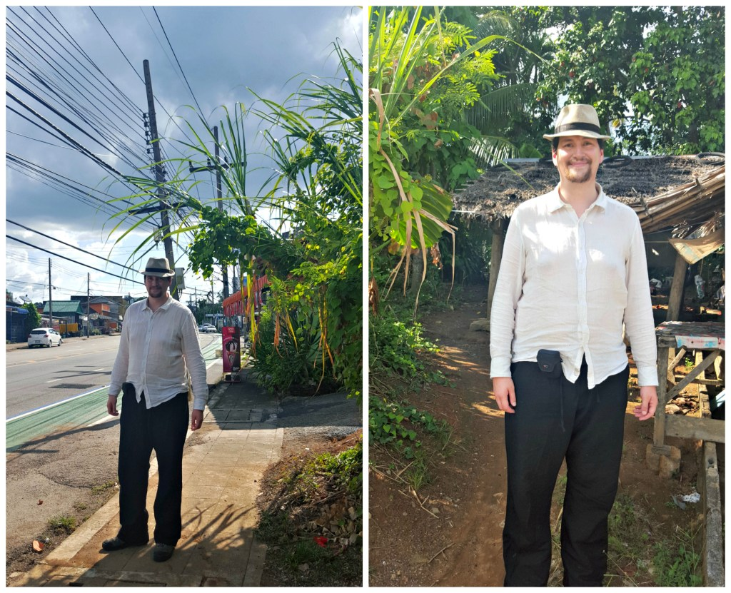 Why you should always take travel photos with a pinch of salt. This was taken during our walk through Trang; exactly the same spot, from two different angles. Are we walking down a lonely street or trekking through the jungle? Depends what I want you to believe!