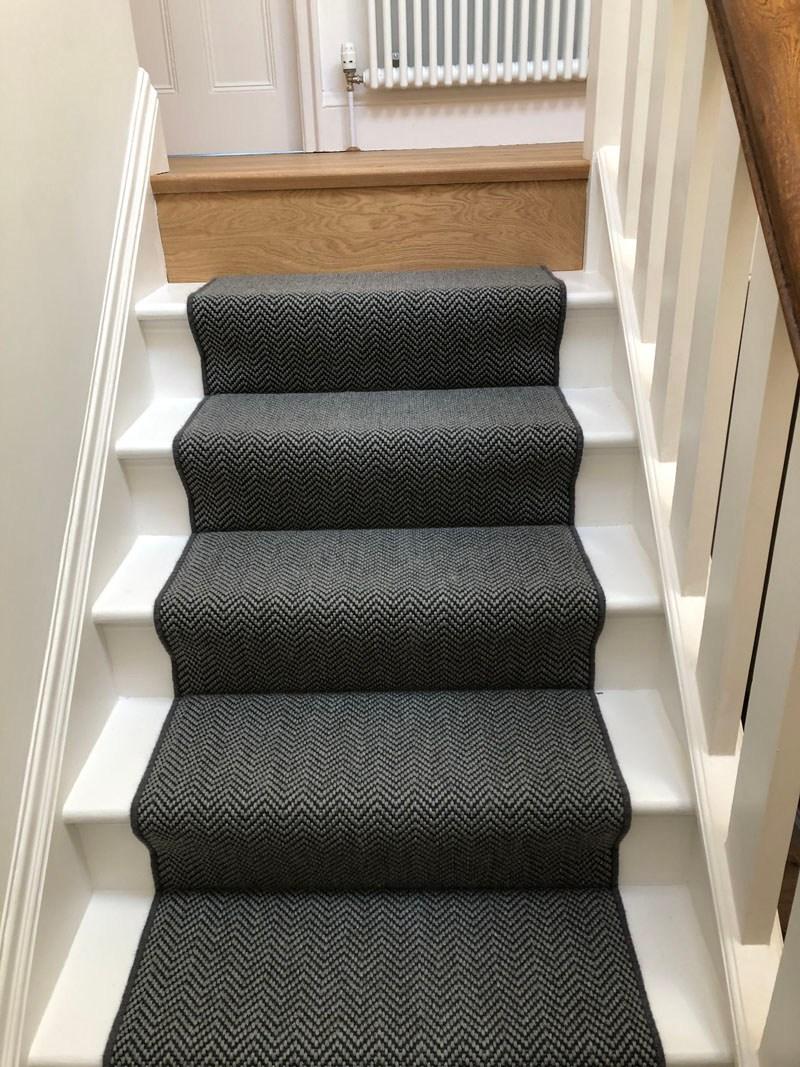 Dark Grey Sisal Herringbone Carpet Fitted In Holloway The   Grey Herringbone Carpet Stairs   Living Room   Flat Weave   Hartley   Patterned   Modern