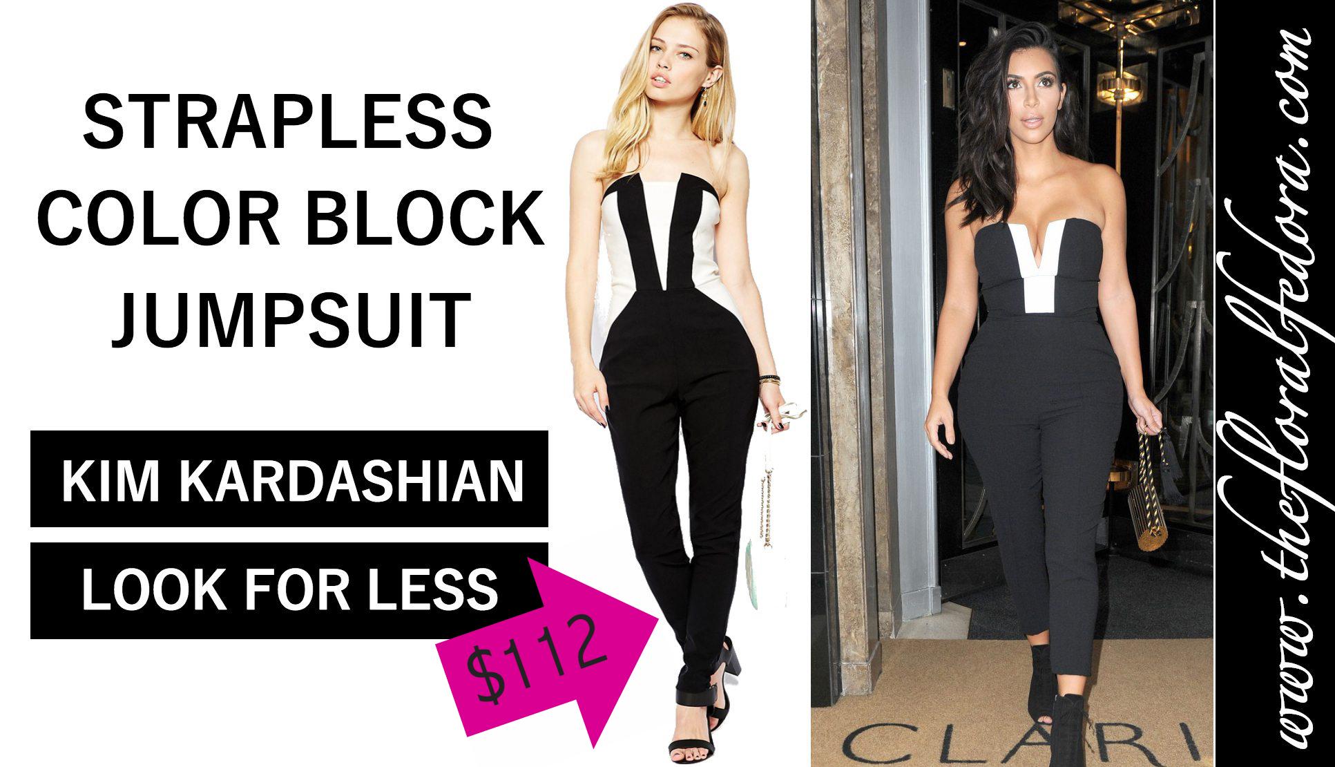 0f3d4e26e876 The Look for Less  Kim Kardashian s Strapless Jumpsuit