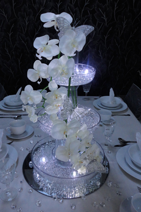 Purple Rose Ball Table Centrepiece With Lights