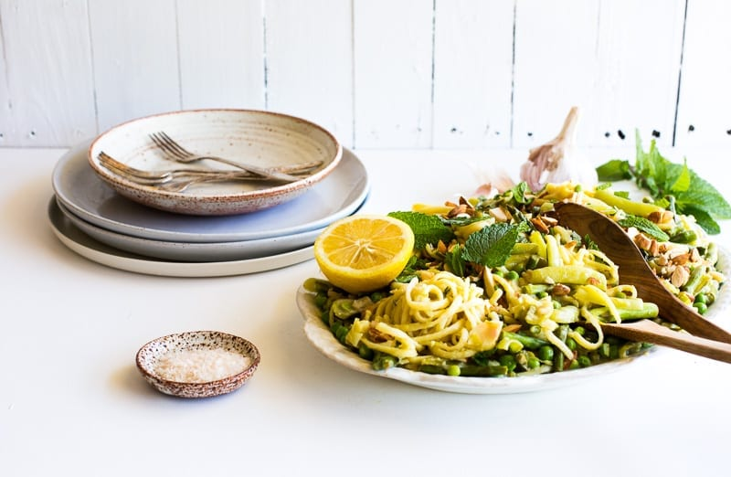 One Pan White Wine + Preserved Lemon Spring Pasta with White Beans, Mint + Almonds | The Floured Kitchen