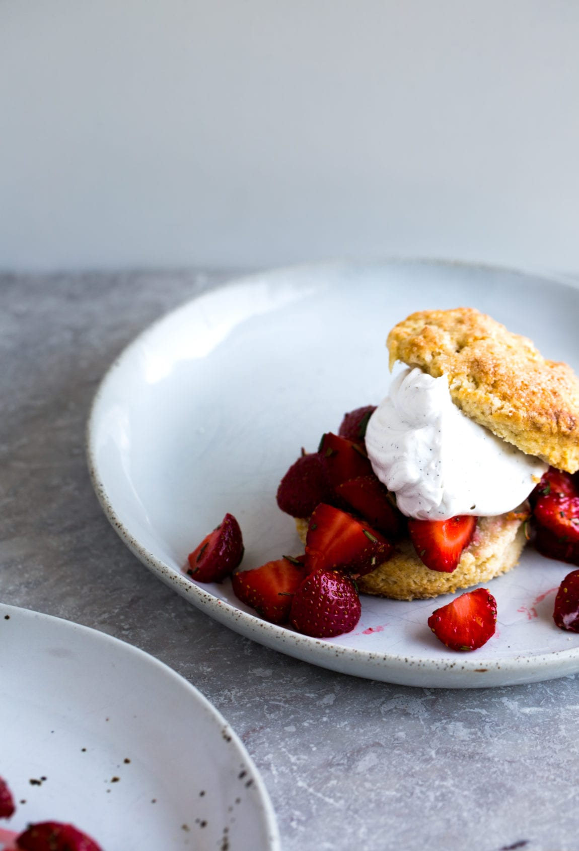 Barley & Rosemary Strawberry Shortcakes with Vanilla Bean Coconut Whipped Cream