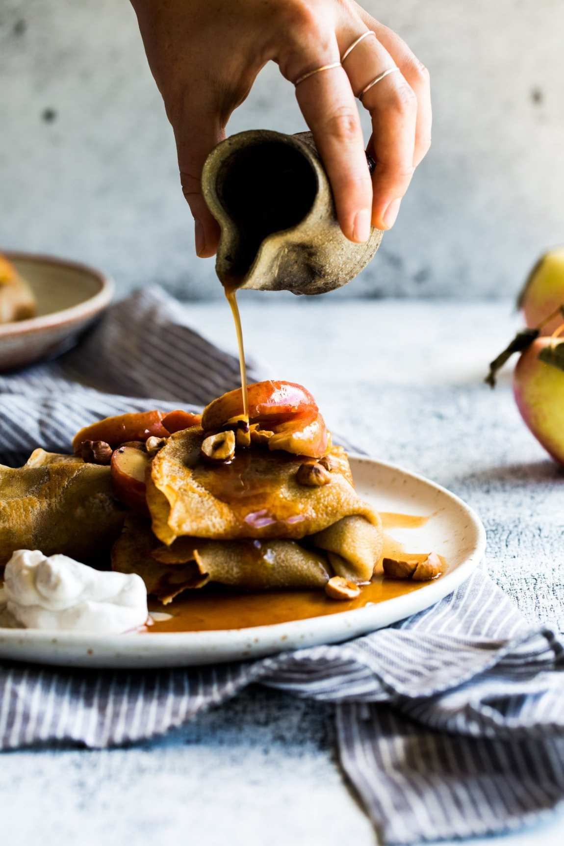 8fb4189e1e9 Hazelnut Butter Crêpes + Maple Cinnamon Roasted Apples  vegan
