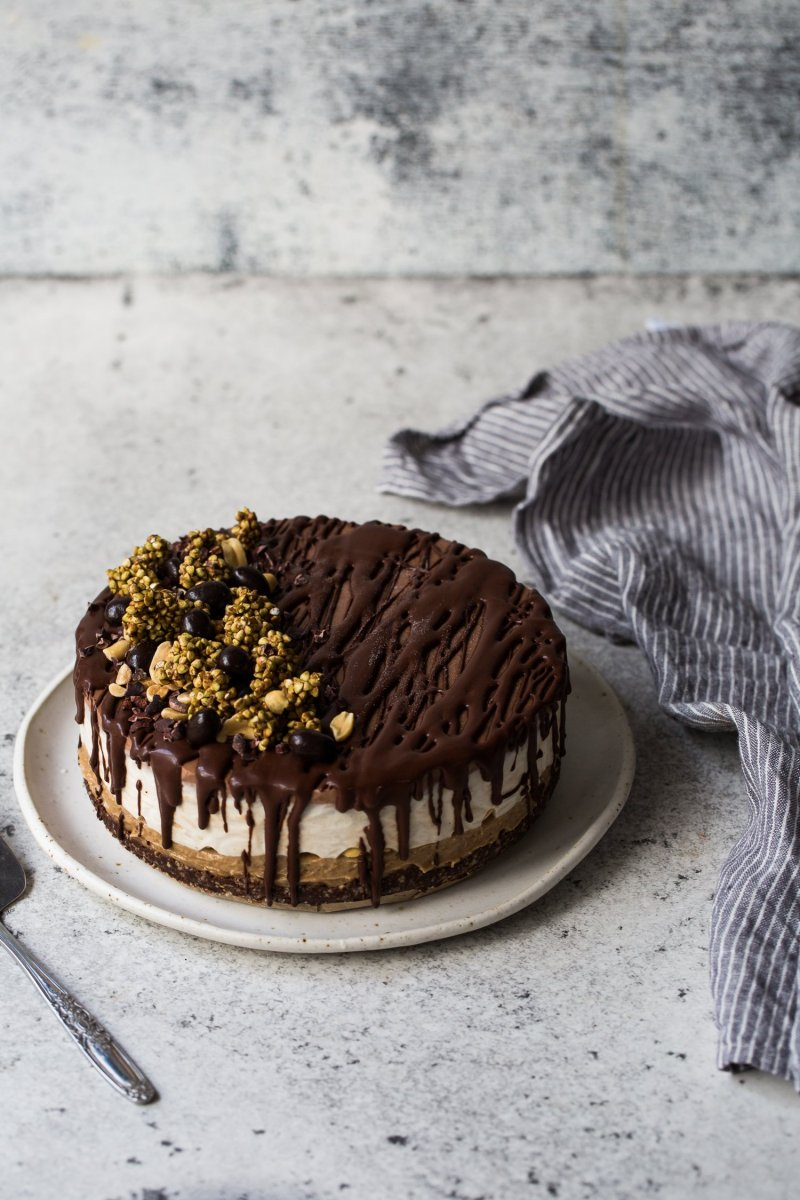 Almost Raw Vegan Snickers Cheesecake