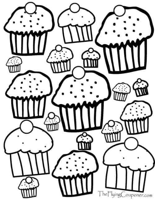 Colouring Pages for Adults and Kids. Cupcake Lover