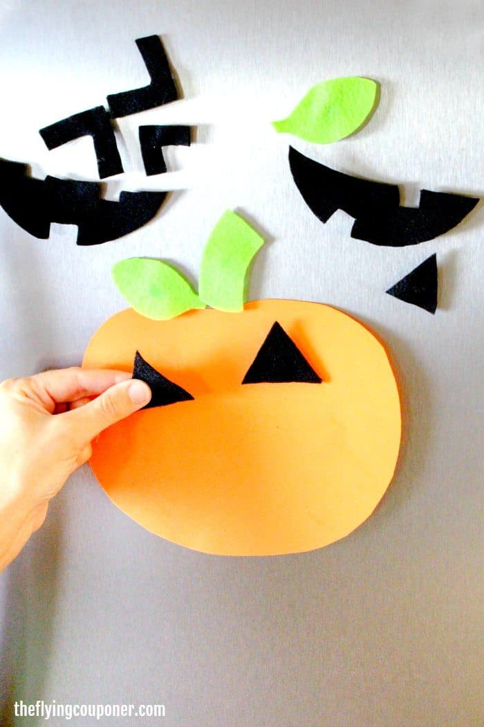 Pumpkin Foam Faces Fridge Magnets