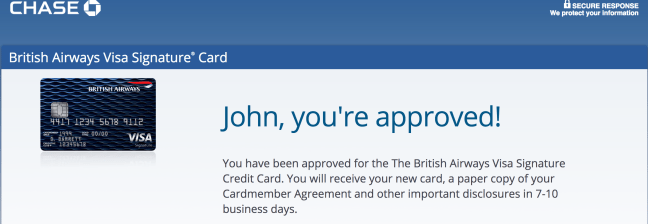 Chase Credit Card Approval