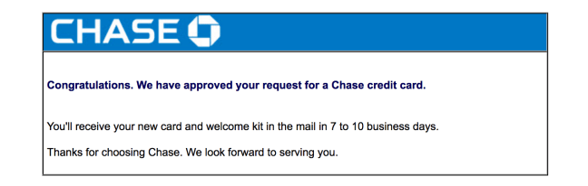 Chase Application Status