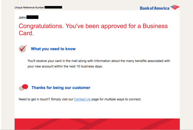 Bank of America business card approval