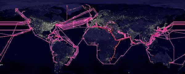 Submarine fiber optic cables around the world