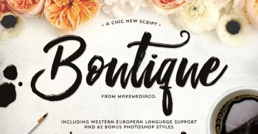 Boutique Script + Psd Styles [1 Font + Extras] | The Fonts Master