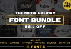 Mega Holiday Font Bundle [431818] [33 Fonts + Extras] | The Fonts Master