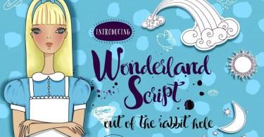 Wonderland Script + Vector Set [1 Font + Extras]