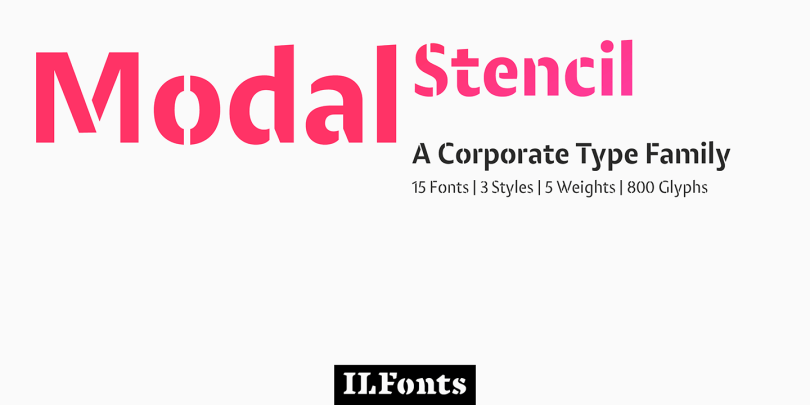 Modal Stencil Super Family [15 Fonts]   The Fonts Master