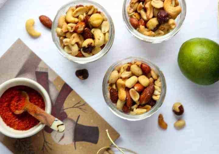 Three jars of mixed nuts
