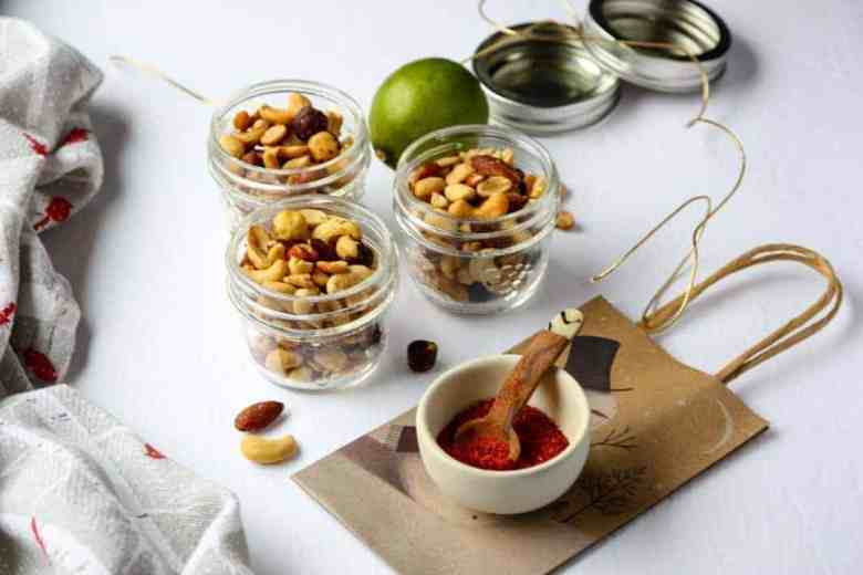 Jars of nuts on a table