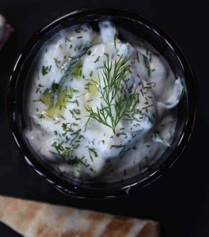 A bowl of tzatziki