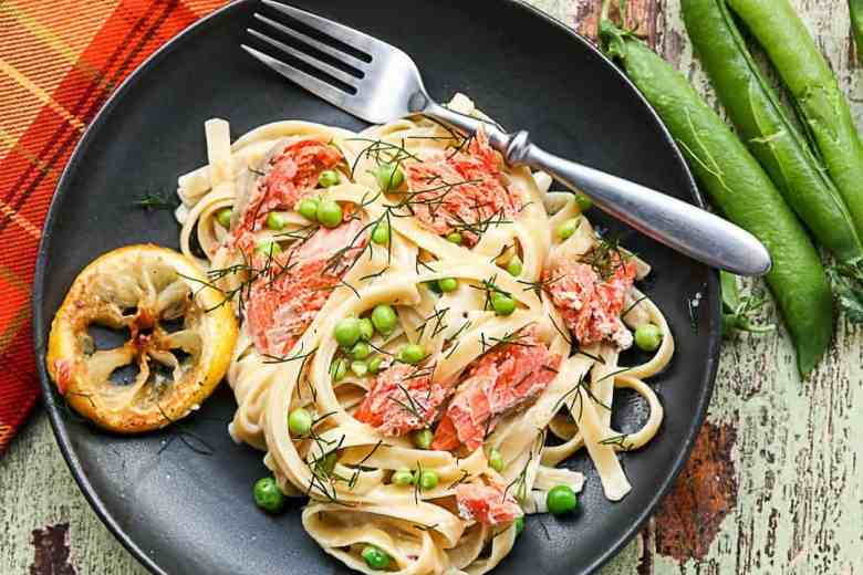 Fettuccini Alfredo with Salmon and Peas