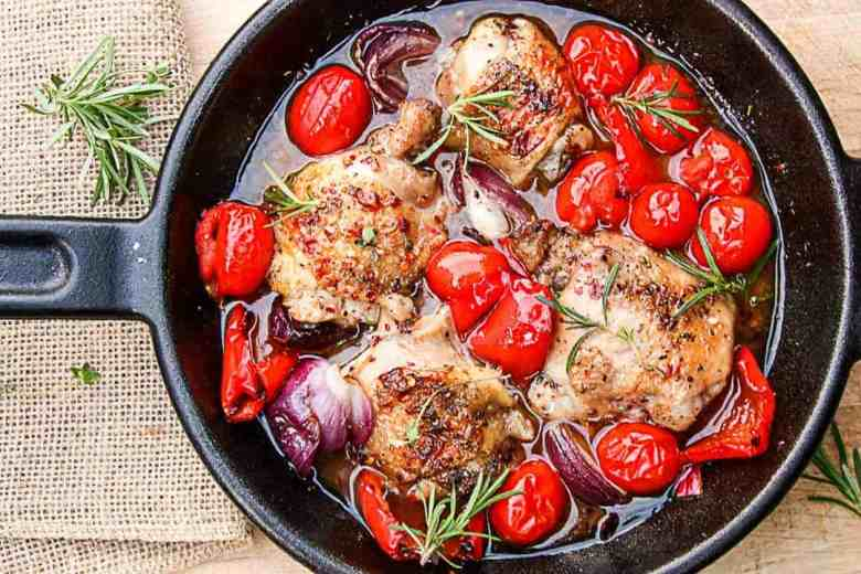 Grilled Chicken & Vegetables in Red Currant Sauce in a cast iron skillet