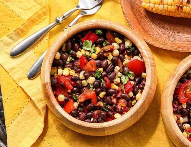 Grilled Corn & Black Bean Salad in a wooden bowl