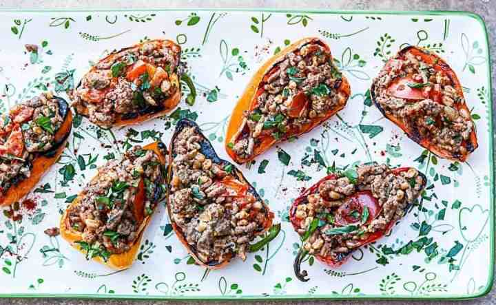 A plate of stuffed peppers
