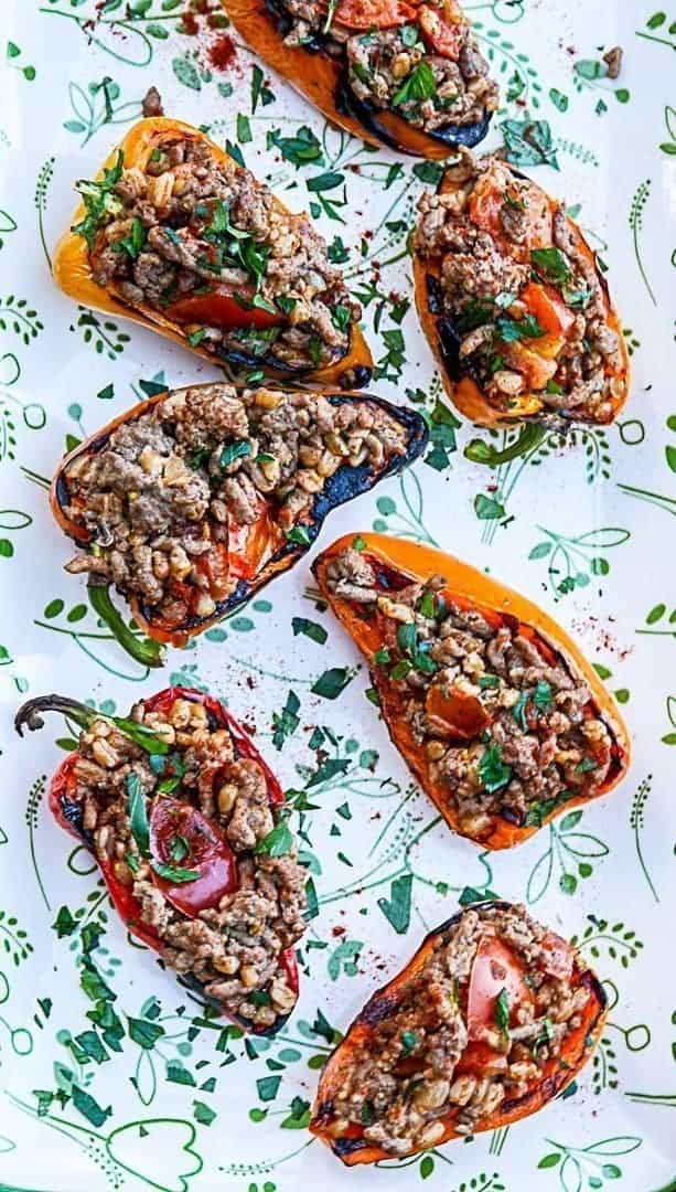 Peppers stuffed with farro on a plate