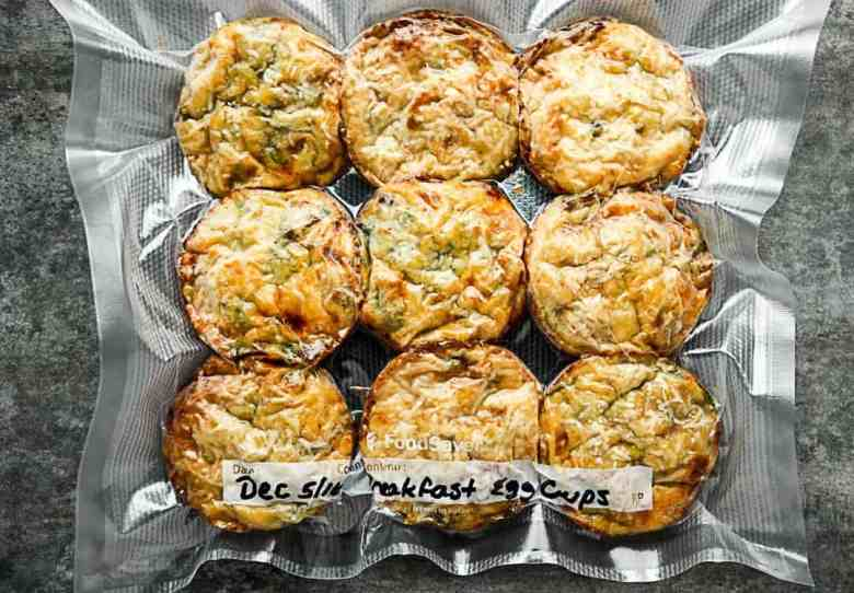 Baked Breakfast Spinach, Cheese, Bacon Egg Cups prepared for the freezer using the FoodSaver® Vacuum Sealing System