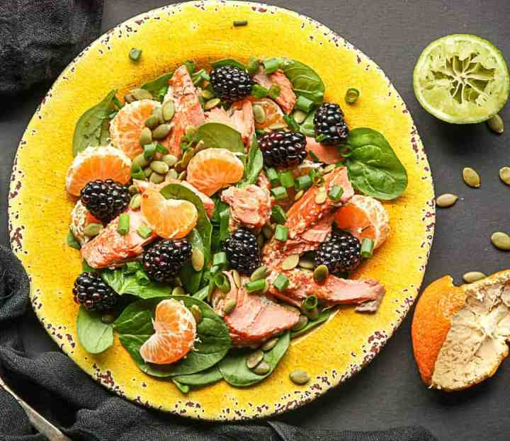 Salmon, Spinach, Mandarin Orange Salad