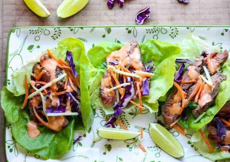 Ranch Marinated Flank Steak Lettuce Wraps