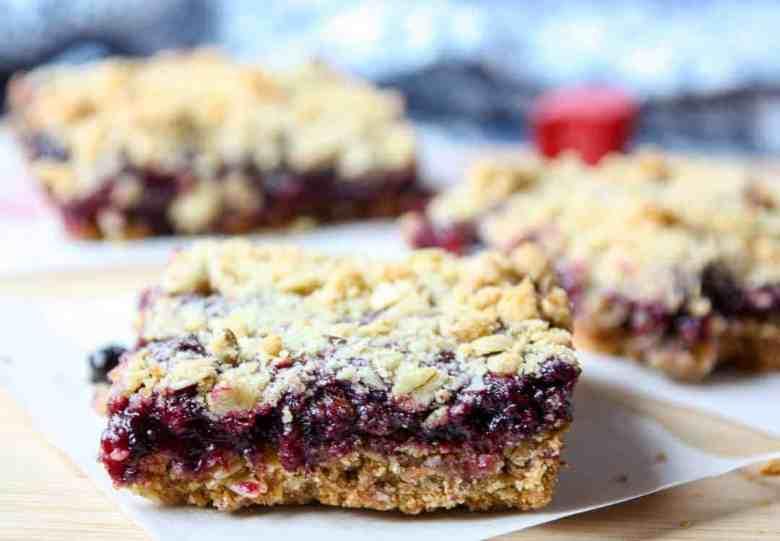 Rhubarb Blueberry Oatmeal Bars