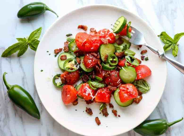 Watermelon Salad with Jalapeno & Bacon