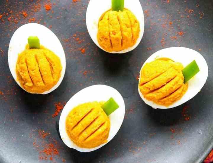 Deviled Eggs that look like pumpkins