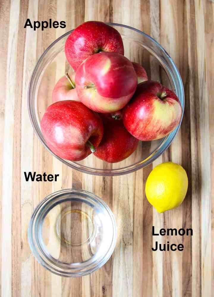 The ingredients to make homemade applesauce.