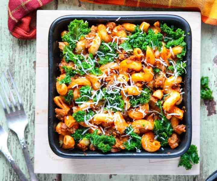 Kale and Sausage Pasta with Mushrooms
