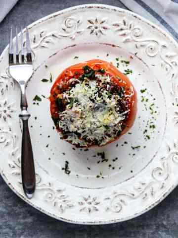 Kale and Quinoa Stuffed Tomatoes