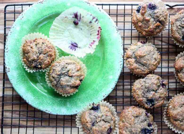 Muffins on a green plate