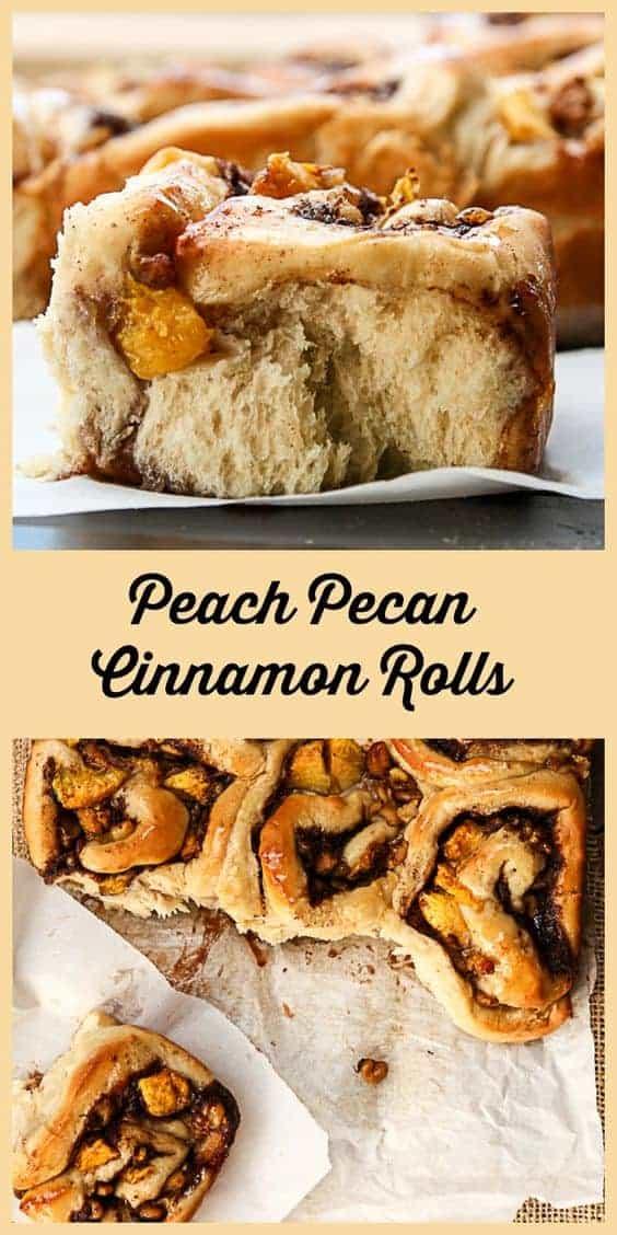 Peach Pecan Cinnamon Buns